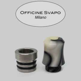Officine Svapo Milano - Drip Tip Mod. HORSE Metacrilato Avorio / Nero